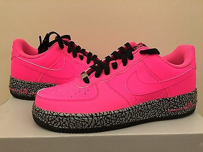 """Nike Air Force 1 One Low """"Hot Pink"""" Elephant Print Grey GS Girl kids Size 4Y-7Y"""