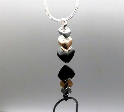 3 Hearts Together As One Silver Rose Gold & Black Cremation Memorial Urn Pendant