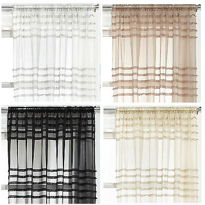 Pleated Voile panel sold in PAIRS - Black, Cream, Latte & White available