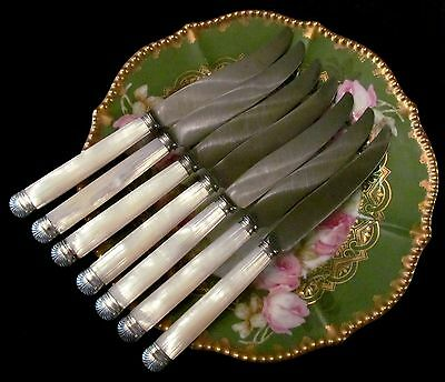 7 Antique French Sterling Silver & Mother Of Pearl Luncheon, 2nd Course Knives