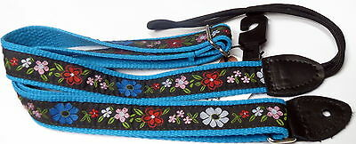Mandolin Strap Floral Design with Blue Trim by Souldier Made in Chicago