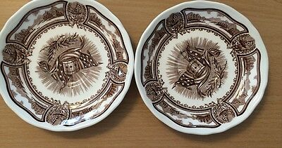"""Set of 2 J & G Meakin Americana Style House 6"""" Saucer Ironstone"""