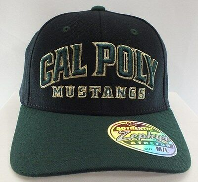 Cal Poly Mustangs Ncaa Flexfit Cap Black/green New Hat By Zephyr Adult Size M/l