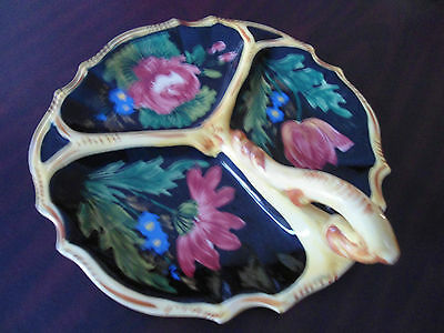 Italian pottery divided serving tray with handle