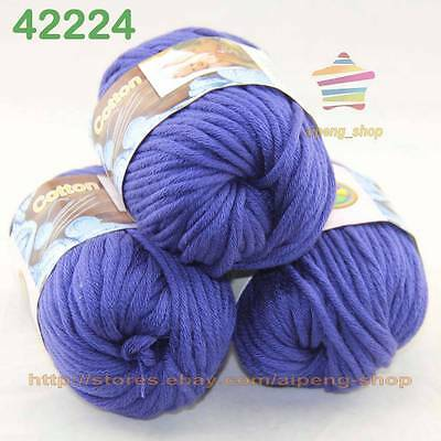 3 Balls X50gr Special Thick Hand-woven Coarse Knitting Yarn Royal Blue 2224