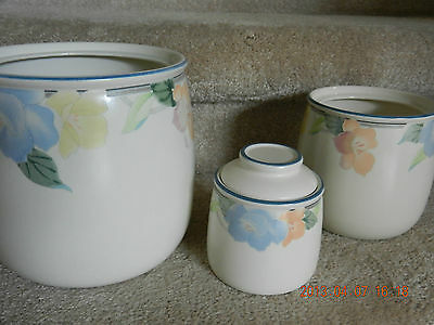MIKASA INTAGLIO GARDEN POETRY, set of 3, CANISTERS (flour,sugar & tea w/lid)