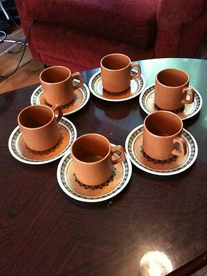 6 Very Unusual Woods And Sons Retro Inca Cups And Saucers
