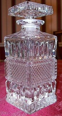 SQUARE LEADED GLASS CRYSTAL WHISKEY DECANTER