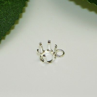4mm - 10mm Round Sterling Silver Snap Tite Dangle DROP Setting (6 prong)