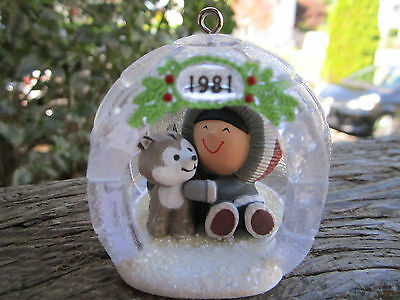 Hallmark Ornament Frosty Friends 1981 2nd in Series In Child & Dog in Igloo
