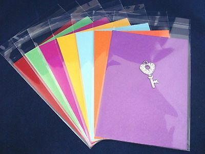 100 Clear Cello Cardmaking Adhesive Sleeves Bags C6 120x170mm FREE POSTAGE