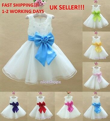 GIRLS Flower Formal Wedding Bridesmaid Party Christening Dress(6)