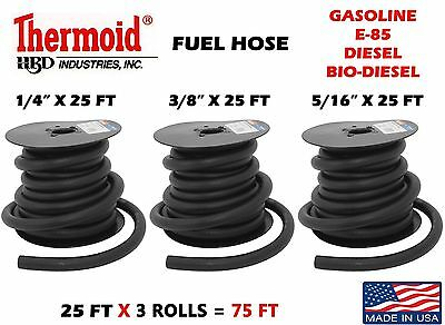 "1/4"" 3/8"" 5/16"" X 25 Ft 3 Rolls Gas Fuel Line Gasoline Thermoid Made In Usa Made"