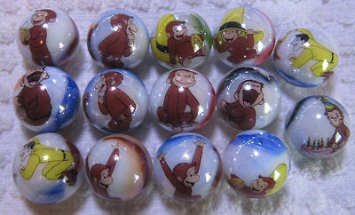 Curious George glass marbles collection lot 5/8 size