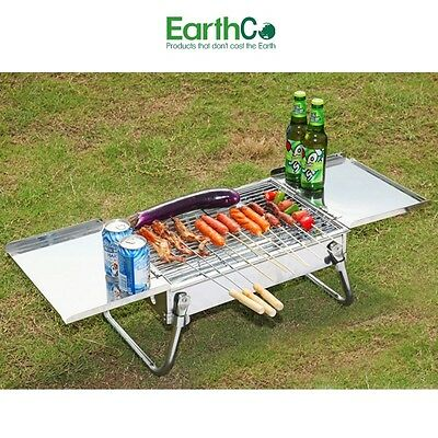 EarthCo Bench Top Stainless Steel Charcoal BBQ Grill