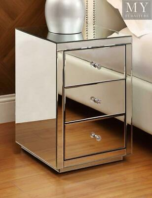 VEGAS Mirrored bedside table chest 3 drawer - Mirrored Furniture