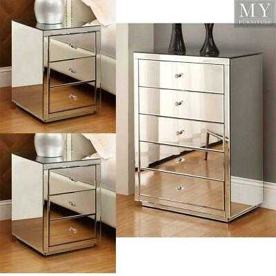 Vegas mirrored bedside tables & tallboy package - Mirror Furniture