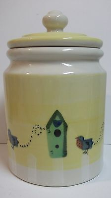 "Vintage Hartstone Pottery Blue Bird Cookie Jar Canister 10""  1983"