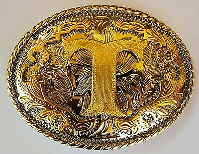 "Initial "" T ""  Rodeo Cowboy Letter Shine Gold Silver Western Belt Buckle"