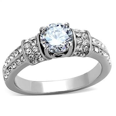 Women's Silver Tone 0.75 Ct Round Cut CZ Engagment Fashion Ring Size 5 - 10