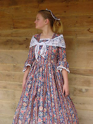 Handmade Historical Costumes Victorian Colonial Pioneer Dress ~Navy Felicia~ 6/7