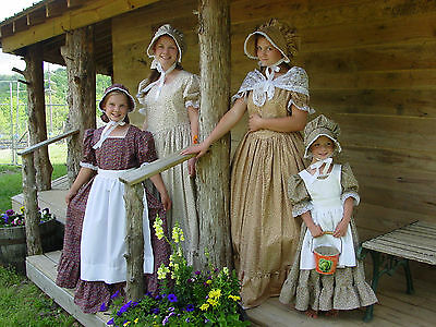 Handmade Historical Costumes Pioneer Girl Colonial ~Peach Prairie Dress~ 14