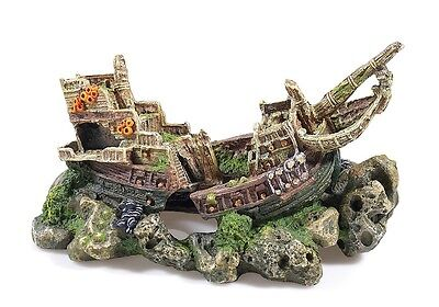 Large Galleon Shipwreck Aquarium Fish Cave Ornament Fish Tank Decoration 2682