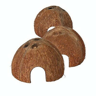 3 Coconut Caves Hamsters Mice Rodents Natural Hide Fish Spawning Caves 76160