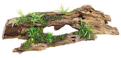 Classic Driftwood & Plants Reptile Basking Log Decoration Aquarium Ornament 3084
