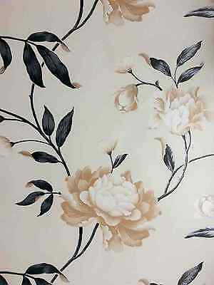 Designer Black & Cream Biscuit Floral Feature Wallpaper 14854 By Debona :)