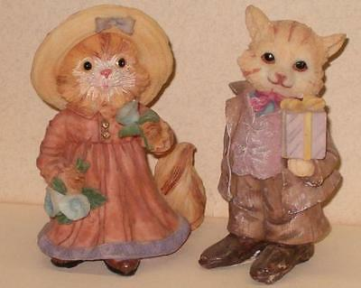 Sweet LADY Orange Tabby Feline & Her Yellow TOM CAT SUITOR Figurines
