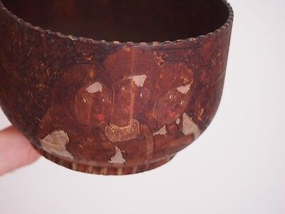 Antique Russian carved painted wooden wood folk art bowl vase cup Three girls
