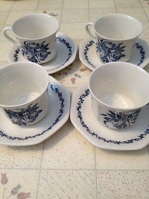 4 J & G Meakin Royal Staffordshire Trio Ironstone Blue Tea Coffee Cup And Saucer