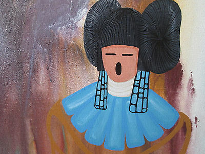 OIL PAINTING - AMERICAN INDIAN - HOPI - LARGE PAINTING - 2 PIECES