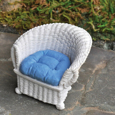 My Fairy Gardens Mini - Wicker Chair With Blue Cushion - Supplies Accessories
