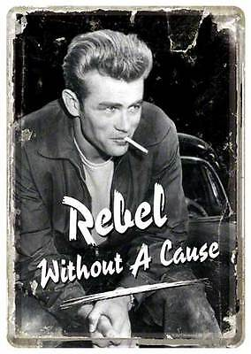 Retro Tin Metal Postcard 'JAMES DEAN' Mini Sign 10 x 14cm REBEL WITHOUT A CAUSE