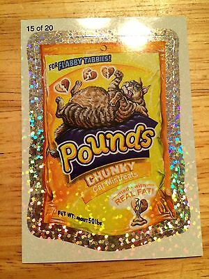WACKY PACKAGES 2010 ANS7 FLASH FOIL SILVER STICKER POUNDS GIGANTIC CAT LOVE 15