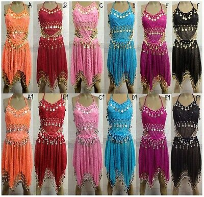 AU 12 Style girls Hand Made BELLY Dance Costume Lace Top & Skirt Suites sets