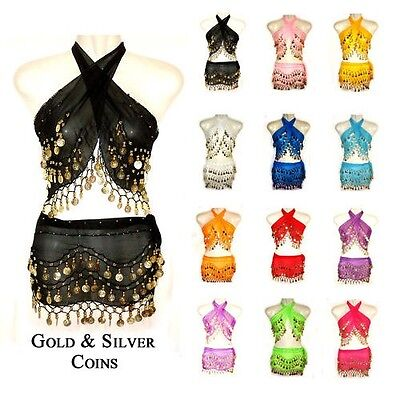 Top&Belt BELLY DANCE HIP SCARF WRAP COIN BELT SKIRT HIPSCARF SILVER GOLD COINs