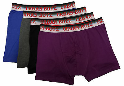 mens boxer shorts Cotton short 3 Pairs elasticated band assorted colours URBAN