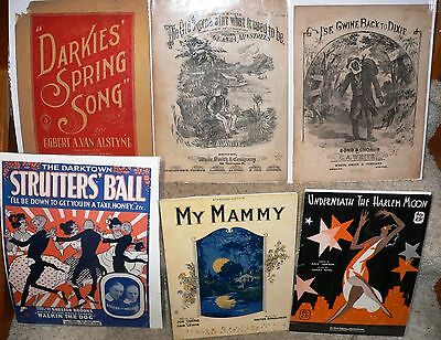 Lot of 6 Black Americana Sheet Music, 1872-1932
