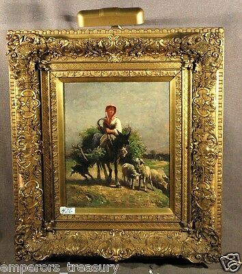 """19th Century Painting """"Girl with Dog and Sheep"""" signed Constant Troyon (FRENCH)"""