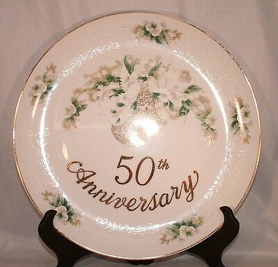 Lefton 50th Golden Anniversary Serving Cake Plate Gold Bells Flower #1139