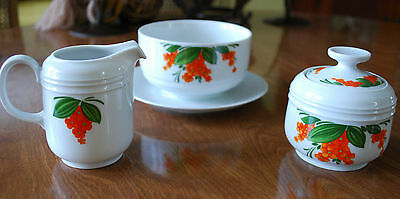 Orange Flowers Mittereich Bavaria 4 Piece Sugar Creamer + Footed Gravy Bowl Set
