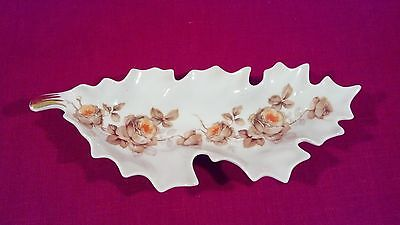Vintage Mitterteich Porcelain Leaf Dish - Orange Flowers & Gold Trim - Germany