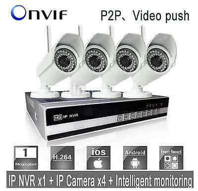 4CH 720P Network Video Recorder Wireless IP Home Security HD Camera System wifi