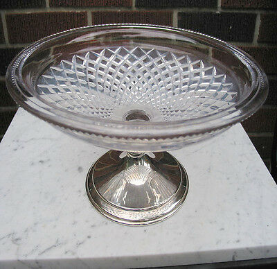 """HAWKES STUNNING HUGE 13.25"""" CUT GLASS CRYSTAL STERLING BOWL 202 gr. RARE SIGNED"""