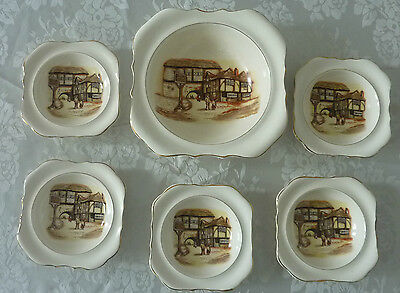 VINTAGE LANCASTER AND SANDLAND 6 PIECE DESSERT SWEET SET THE JOLLY DROVER 1949+