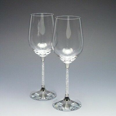New Exclusive Swarovski Crystal Filled Stem Wine Glasses (Pair)