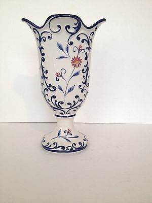 """RCCL Blue and White Vase Hand Painted in Portugal 11 1/2"""""""